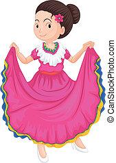 tradycyjny, dziewczyna, strój