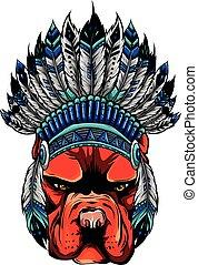 tradycyjny, ilustracja, wektor, kapelusz, pies, głowa, indianin