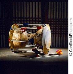 tradycyjny, instrument, koreański