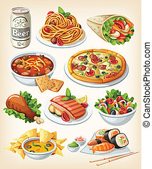 tradycyjny, jadło, komplet, icons.