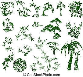 tradycyjny, klasyk, bambus, chińczyk, atrament