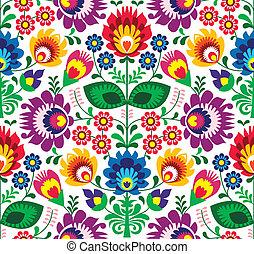 tradycyjny, kwiatowy, seamless, próbka