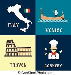 tradycyjny, płaski, podróż, włoski, ikony