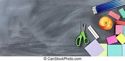 tradycyjny, szkoła, obiekty, wstecz, chalkboard