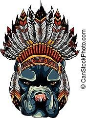 tradycyjny, wektor, głowa, indyjski kapelusz, ilustracja, pies