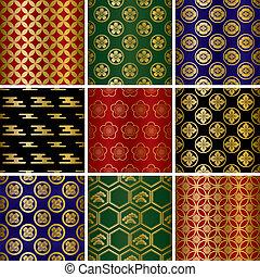 tradycyjny, wzory, komplet, japończyk