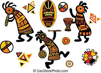 tradycyjny, wzory, wektor, afrykanin
