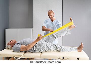 traktowanie, terapia, kolano, ruch