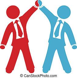 transakcja, handlowy zaludniają, porozumienie, powodzenie, świętować