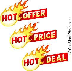 transakcja, rzeźnik, oferta, gorący, płomień, cena, symbole
