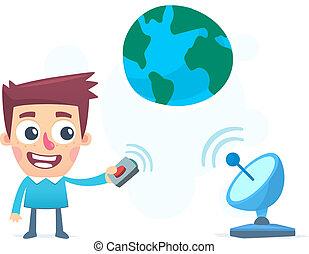transmisja, informacja, całość, świat