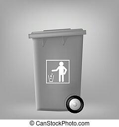 trashcan, plastyk, szary