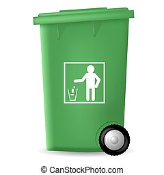 trashcan, plastyk, zielony