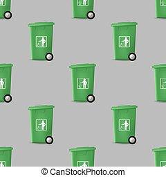 trashcan, próbka, zielony, seamless, plastyk