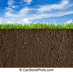 trawa, niebo, gleba, tło