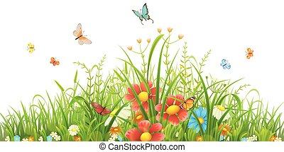 trawa, zielony, kwiaty