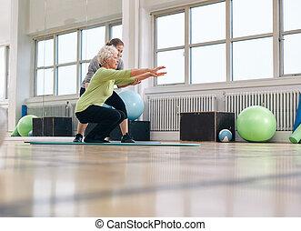 trener, kobieta, jej, osobisty, senior, ruch