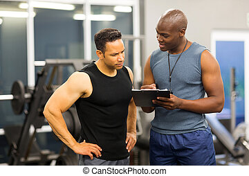 trener, kształt, osobisty, porcja, członkostwo, afrykański człowiek, napełniać