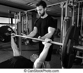 trener, osobisty, ława, weightlifting, tłoczyć, człowiek
