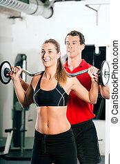 trener, osobisty, sala gimnastyczna, kobieta