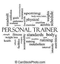 trener, pojęcie, słowo, osobisty, czarnoskóry, biały zasępiają się