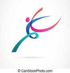 trener, sieć, barwny, figura, taniec, abstrakcyjny, sport, sala gimnastyczna, wyścigi, wektor, stosowność, ludzki, czynny, logo, design., logo., symbol, ikona