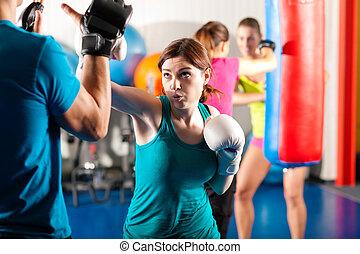 trener, sparing, bokser, kopnąć, samica