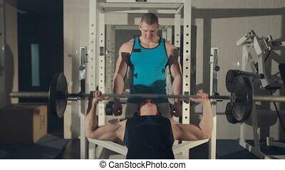 trener, trening, osobisty, pompowanie, sala gimnastyczna, żelazo, człowiek