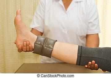 trening, noga, rehab, terapeuta, mięsień, fizyczny