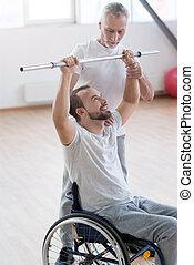 trening, practitioner, władczy, generał, niepełnosprawny, sędziwy, sala gimnastyczna