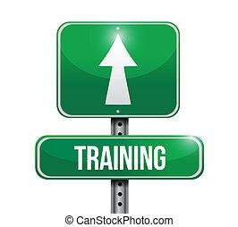 trening, projektować, droga, ilustracja, znak