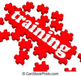 trening, zagadka, pokaz, dając korepetycje, handlowy