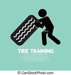 trening, zmęczyć, trening, ilustracja, wektor, symbol