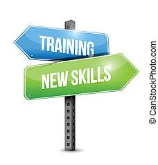 trening, zręczności, ilustracja, znak, projektować, nowy, droga