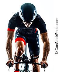 triathlon, odizolowany, biały, rowerzysta, kolarstwo, triathlete, sylwetka, b