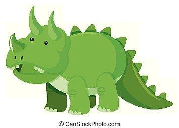 triceratops, zielony, obraz, kolor, jednorazowy