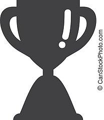 trofeum, filiżanka, ilustracja, tło., wektor, czarnoskóry, biały, ikona