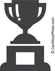 trofeum, filiżanka, zwycięzca, ilustracja, tło., wektor, czarnoskóry, biały, ikona