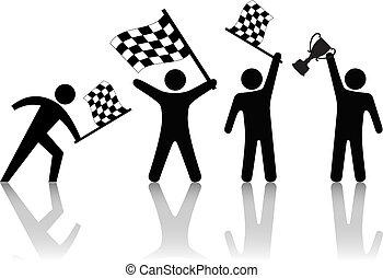 trofeum, klatkowy, ludzie, symbol, machać, bandera, zwycięstwo, utrzymywać