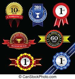 trofeum, odznaka, wstążka, nagroda, znak