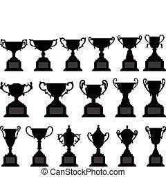 trofeum, sylwetka, komplet, czarnoskóry, filiżanka