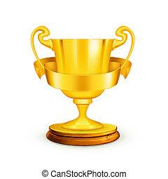 trofeum, wektor, złoty