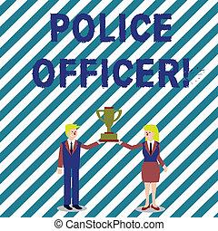 trofeum, wykonanie, kobieta, pojęcie, policja, handlowy, cup., demonstrowanie, tekst, drużyna, razem, pisanie, officer., treść, mistrzostwo, oficer, dzierżawa, garnitur, pismo, prawo, człowiek