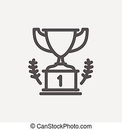 trofeum, zwycięzca, miejsce, cienka lina, pierwszy, ikona