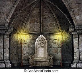 tron, zamek, hala, zasłona