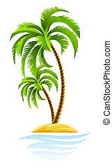tropikalna wyspa, dłoń