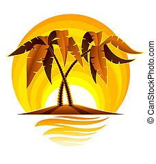 tropikalna wyspa, dłoń, zachód słońca ocean