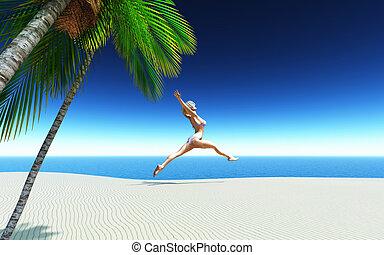 tropikalny, bikini, skokowa samica, plaża, 3d