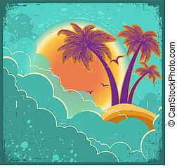 tropikalny, chmury, rocznik wina, wyspa, ciemny, stary, papier, tekst, tło, afisz, słońce