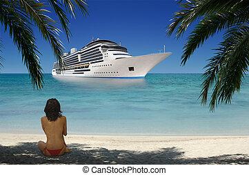 tropikalny, dziewczyna, plaża